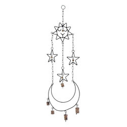 Benzara - High Quality Metal Wind Chime Hanger - Fill your home with pleasant sounds from this wonderfully crafted chime. The chime setup consists of attractive components that are artistically designed and held delicately by a metal chain. The chime with celestial objects looks attractive. This beautifully crafted wind chime set is the perfect choice to produce a relaxing effect in your living space. The metal ring on top enables the chime to be hung conveniently from any location. The cute images of sun, moon, and stars are placed at different levels to produce the interesting and relaxing sounds typical of wind chimes. This delightful chime is made of high quality metal that ensures the endurance to last for a long time. It is a perfect gift for friends who believe in the wind chime as a symbol of luck..