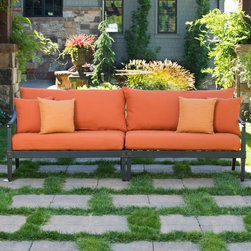 RST Brands - RST Brands Astoria Sofa - OP-ALSOF-AST-DEL-K - Shop for Chairs and Sofas from Hayneedle.com! Turn an underused nook into a favorite haunt with the RST Outdoor Astoria Sofa. Read nap converse and bond with this low-maintenance piece that's never passe. Astoria frames are constructed of cast aluminum finished with a powder coat in lightly antiqued Charcoal for an extremely versatile look that's durable and corrosion-resistant. Designed by the inimitable Michael Burridge finials on this sofa bear diamond shaped peaks to accentuate the classically contemporary lines. Select a cushion color to suit your space and rest easy knowing that cushion covers are easy to clean and replace thanks to patent pending Quick Change covers. Lofty cushions and pillows are appointed with SolarFast outdoor fabric created to resist fading as the colors are solution dyed into each strand before weaving. Fabric dries quickly and the three-layer foam core within each mesh-bottomed cushion is engineered to fully shed moisture thus reducing the opportunity for mildewing. This set is made for enduring appeal under salty chlorinated or coastal conditions. So relax!About RST OutdoorSince 2004 RST Outdoor has designed and manufactured products in the outdoor living home decor and wall-based organizational products categories. They are a direct import product marketing company. RST Outdoor categories of focus include jewelry boxes men's gifts & furnishings and RTA furniture. Their team of marketing and design professionals can help identify market trends and deliver products that meet target retails with maximum perceived value. Their network of manufacturing partners and overseas production managers insure integrity in production and strict quality control.