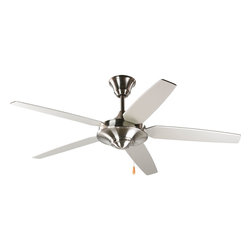 """Progress Lighting - Progress Lighting P2530-09 Airpro Brushed Nickel 54"""" 5-Blade Energy Star Fan - 54"""" five-blade Energy Star Fan with reversible Silver/Natural Cherry blades and a Brushed Nickel finish. The AirPro Signature ceiling fan offers great performance and value. This contemporary styled fan features a powerful, 3-speed motor that can be reversed to provide year-round comfort. Includes innovative canopy system that can be installed on vaulted ceilings up to 12:12 pitch. A 1"""" x 6"""" downrod is included, however, longer downrods can be ordered seperately."""
