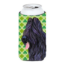 Caroline's Treasures - Briard St. Patrick's Day Shamrock Portrait Tall Boy Koozie Hugger - Briard St. Patrick's Day Shamrock Portrait Tall Boy Koozie Hugger Fits 22 oz. to 24 oz. cans or pint bottles. Great collapsible koozie for Energy Drinks or large Iced Tea beverages. Great to keep track of your beverage and add a bit of flair to a gathering. Match with one of the insulated coolers or coasters for a nice gift pack. Wash the hugger in your dishwasher or clothes washer. Design will not come off.