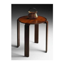 Butler - Round Side Table with Veneer Inlays and Umber Finish - Selected solid woods and choice cherry veneers