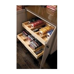 """Organization Options from Kemper Cabinets - Do you love those new Kemper cabinets you just put in your kitchen and bathroom?  Did you know they have plenty of options for entertainment spaces!?  Yes.  Like this CD/DVD organizer.  This is a great fit for those entertainment systems designed around fireplaces and 60"""" screen TVs!"""