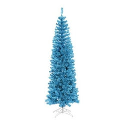 Vickerman Sky Blue Pencil Christmas Tree - Have some fun decorating this year with the Vickerman Sky Blue Pencil Christmas Tree. This unconventional pre-lit Christmas tree features blue mini-lights and a convenient on/off footswitch that eliminates reaching for extension cords and outlets. True to it's unique nature, the slim body shape offers an alternative to a classically shaped tree.Specifications for the 4.5 ft. TreeShape: SlimBase Width: 20 inchesNumber of Bulbs: 150Number of Tips: 299Specifications for the 5.5 ft. TreeShape: SlimBase Width: 22 inchesNumber of Bulbs: 250Number of Tips: 449Specifications for the 6.5 ft. TreeShape: SlimBase Width: 27 inchesNumber of Bulbs: 300Number of Tips: 587Specifications for the 7.5 ft. TreeShape: SlimBase Width: 34 inchesNumber of Bulbs: 400Number of Tips: 803Specifications for the 5 ft. TreeShape: SlimBase Width: 44 inchesNumber of Bulbs: 550Number of Tips: 1401Don't Forget to Fluff!Simply start at the top and work in a spiral motion down the tree. For best results, you'll want to start from the inside and work out, making sure to touch every branch, positioning them up and down in a variety of ways, checking for any open spaces as you go.As you work your way down, the spiral motion will ensure that you won't have any gaps. And by touching every branch you'll create the desired full, natural look.About VickermanThis product is proudly made by Vickerman, a leader in high quality holiday decor. Founded in 1940, the Vickerman Company has established itself as an innovative company dedicated to exceeding the expectations of their customers. With a wide variety of remarkably realistic looking foliage, greenery and beautiful trees, Vickerman is a name you can trust for helping you create beloved holiday memories year after year.