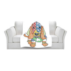 DiaNoche Designs - Fleece Throw Blanket by Marley Ungaro - Basset Dog - Original Artwork printed to an ultra soft fleece Blanket for a unique look and feel of your living room couch or bedroom space.  DiaNoche Designs uses images from artists all over the world to create Illuminated art, Canvas Art, Sheets, Pillows, Duvets, Blankets and many other items that you can print to.  Every purchase supports an artist!