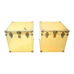 Pre-owned Large Brass Trunks - A Pair - A pair of large brass trunks with great vintage wear, reminiscent of Sarried Ltd. brass trunks. Please note that the lock on one trunk is broken. The glam-est of vintage pieces for the bedroom or living room!