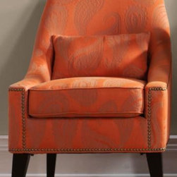 Hazelton Lounge Chair, Orange Paisley - This fun, orange paisley chair is funky and modern. It's great for a room needing some color.