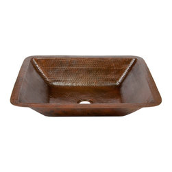 "Premier Copper Products - Premier Copper Products LREC19DB 19"" Rectangle Hammered Copper Bathroom Sink - Uncompromising quality, beauty, and functionality make up this Premier Rectangular Hammered Copper Bathroom Sink."