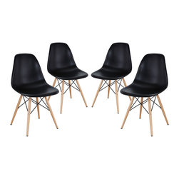 LexMod - Pyramid Dining Side Chairs Set of 4 in Black - These molded plastic chairs are both flexible and comfortable, with an exciting variety of base options. Suitable for indoors or out, appropriate for the living and dinning room, these versatile chairs are a great addition to any home decor statement.