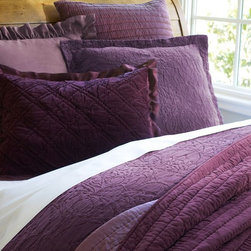 Rustic Luxe Washed Velvet Silt Duvet Cover, Plum - I love the slight variety in the shades of this purple bedding set. I haven't always been a fan of deep purple, but I'm starting to like it.