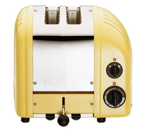 """Dualit - Dualit New Generation Vario 2-Slice Bread Classic Toaster - Canary Yellow - Selector control allows you to heat either one or both slotsSetting for frozen bread, defrost and the option to toast buns and bagels. 2-Slices Insulated Stainless Steel Body 28mm /1.1"""" extra wide slots Removable crumb tray and adjustable rear foot Output per hour: 65 slices Loading: 1250 watts. Dimensions: 10"""" x 8"""" x 9"""" high 1-Year Warranty"""