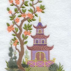 Chinoiserie Pagoda Scene Embroidered Towel by Embroidered by Sue on Etsy - Just a touch of chinoiserie, like a beautifully embroidered hand towel, goes a long way.