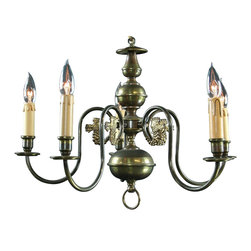 EuroLux Home - Petite Consigned Vintage Flemish Dragon Chandelier 5 Arms - Product Details