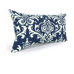 Majestic Home - Outdoor Navy Blue French Quarter Small Pillow - Whether you need an extra head or back cushion while you're kicking back on the deck or in the den, or you'd just like to add a little color to your chair or settee, this little pillow has you covered. Stylish yet durable, its designed to fit into your everyday life, with a comfy and casual recycled fiber fill and a cute printed cover that's safe for outdoor use and easy to remove for cleaning.