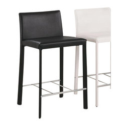 Coaster - Counter Height Stool (Black) By Coaster (Set of 2) - Pull up a seat and enjoy a casual meal or drink with the relaxed contemporary designs of this 24 inch bar stool. The low profile seat back and bold color options will accentuate your gathering height table in your game room or bar countertop in your kitchen. The seat and seat back are covered in black vinyl, while white, chocolate or red vinyl options are also available to accommodate your stylistic needs! This item will make a great addition to your home. Dimensions: Evens Collection 24H Barstool (Coaster 100329BLK) 12x12x64