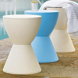 Prince AHA Stool by Kartell - Prince AHA Stool by Kartell. Thought up as a colorful game of building blocks, the Prince AHA stool is composed of two cones to resemble the shape of an hourglass. An entertaining and colorful accessory, a practical stool and stand to place beside the couch or the bed. The pastel colors, the texture of the material used and the geometric design make Prince AHA a flexible product, easily inserted into any setting. It is available in a range of pastel colors. Prince AHA Stool by Kartell are designed by Philippe Starck.