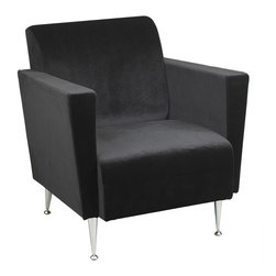Adesso - Memphis Velvet Club Chair in Black Finish - Picture a pair of these on either end of your favorite couch in your living room!  Chromed legs offer a visual counterpoint that enhances the chair's appeal.  Whether your space beams with old world classic themes or transcends contemporary style, this piece is simply spectacular.  Built in a sturdy modern style that is reminiscent of old school, this lounge chair contrasts the beautiful black upholstery and the shining beauty of the quality chrome frame to make an incredibly comfortable lounge chair equally suited to the most modern home or a more classic home decor composition.  The Memphis Club Chair provides exceptional comfort to go with its stately good looks. * Foamed spring seat and back with chrome finished legs. 27.25 in. W x 31.75 in. D x 27.5 in. H. Seat: 21 in. W x 20.5 in. D x 16 in. H. Legs: 6 in. H front,  4 in. H back