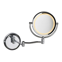 Lighted Magnifier Mirror - Your days of tweezing your eyebrows in the dark are over. No longer will you have to bend over your pedestal sink or strain your eyes to find those stray hairs. Set up your Lighted Magnifier Mirror next to your vanity for hands-free, up close and personal primping.