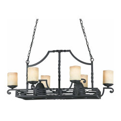 Triarch - Triarch Granada Granada Potrack X-71413 - Granada..... Castle inspired, these ornately textured pieces are lit by candle-like antiqued 'Scavo' glass.  Set in a deep Blacksmith Bronze, they drip with atmosphere.