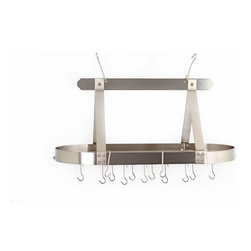 "36"" x 19"" x 15½"" Oval Satin Nickel Pot Rack w/Grid, 16 Hooks, RTA - Satin Nickel Classic Oval Hanging Pot Rack.  Includes grid, 16 hanging hooks &  mounting hardware. Made of Heavy Gauge Steel, the Satin Nickel Finish compliments today's Stainless Steel appliances and is lacquered for easy maintenance. Assembly required."