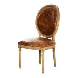 Kathy Kuo Home - French Country Louis XVI Oval Back Leather Dining Side Chair - Detailed design and distinctive embellishments lend this Louis XVI chair a regal aspect. With legs that resemble architectural columns complete with artistic frieze at the top and a medallion-like back, this piece recalls the best of Neoclassicism. Crafted from reclaimed elm and warm leather, this chair combines high quality materials with beautiful design, effortlessly transforming your home into a country château.
