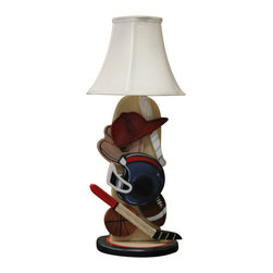 "Albert Tribuiani - Baseball Lamp - Great for the ""little slugger"" in your life, this table lamp is a perfect addition to any room! 3D pieces complete the look! Albert is a decor artist who has been creating designs for celebrities for over 50 years. Albert creates each piece by hand, which making every design one-of-a-kind. (Lamp only, additional items sold separately.)"