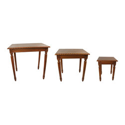 3 Piece Wooden Nesting Table Set - This set of three nesting tables is great for when you need a little extra table room. Made of wood, the tables have a beautiful cherry stained finish. The largest table measures 23 inches long, 16 inches wide and is 24 inches tall. The middle table is 18 inches long, 14 inches wide and 20 inches tall, and the smallest is 13 inches long, 12 inches wide and 16 inches tall. They make a great housewarming gift. Some assembly is required, but no tools are needed.