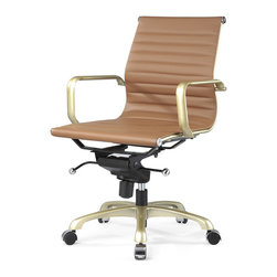 Meelano - M344 Eames Style Office Chair w/ Gold, Brown and Gold - Make your career dreams come true. Always Be Closing. Inspired by Mid-Century ideals, you'll go far and wide with your leadership skills sitting here. Attack your competition and become the master of your office.