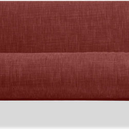 STUDIO COPENHAGEN - Wimbledon Red 3-Seat Sofa - Dynamic and organic, the Wimbledon Sofa features curves and natural wood. Perfect for when you want something different from traditional straight-line sofas.