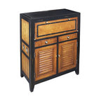 "Inviting Home - Cape Cod Locker Cabinet - Cape cod inspired wood locker cabinet; 13-3/4"" x 29-1/2"" x 37""H; Wooden locker cabinet in light honey and antique black finish; Cabinet features a fold-out shelf to hold miscellaneous items and in general offer much appreciated workspace... At some point we realized our furniture collection was turning into a labor of love. Originally devised as a home for our Kunstkammer objects d'art we somehow turned a corner in celebrating the nostalgia of a past sailing era colonial trade and now... beach life and style. We strive to make the practical exude romance and the historical to include a touch of contemporary. With their air of beach-view porches and sun-filled mooring docks our beach lockers and cabinets celebrate Nantucket as well as Deauville. Making efficient use of every inch and centimeter lockers hold towels and sailors scarves polo gear and golfing shoes. Air circulates ingeniously banning odors and keeping things dry with fragrant freshness. Fold-out shelves hold shaving gear or jewelry prop up mirrors and in general offer much appreciated workspace. This locker is a veritable balancing act of the exotic and matter-of-fact...."