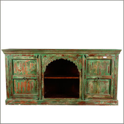 """75"""" Distressed Reclaimed Wood Traditioanl Carved Media TV Console - Our Rustic Green Media Center combines the beauty of old wood with a delicately detailed hand carved scalloped arch. The cabinet sits directly on the floor, creating a solid foundation for the interior of any room."""