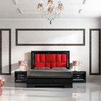 Sophie Collection. Queen bed. SET S48 - Queen bed. Nightstand with 2 drawers with soft closed.