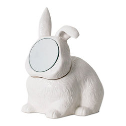 imm Living - imm Living Vanity Companions Rabbit Mirror Container - Perfect for the vanity or nightstand, this whimsical white porcelain container is shaped just like a bunny rabbit. Store your jewelry within, then check your reflection in the round mirror before you head out.White ceramic container with glass mirrorShips in 1-2 weeks