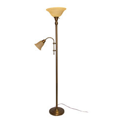 Crown Lighting - Pebbled Bronze Torchiere Adjustable Reading Arm Floor Lamp - This stylish and adjustable reading light features a handsome pebbled bronze finish and two-light design. Durable steel construction and a distinctive modern look make this lamp a welcome addition to any bedroom or living room environment.