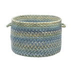 "Colonial Mills, Inc. - Ridgevale, Whipple Blue Utility Basket, 18""X12"" - It's like your traditional braided rug rolled itself up and reinvented itself. This handled basket will help you hold, hide and haul just about everything. The classic wool braids in blues, grays, taupes and greens are sure to look great in your living room, bedroom or anywhere you need a little stylish storage."