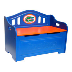 Fan Creations - University of Florida NCAA Logo Storage Bench - This storage bench has carved details on the front, and carved logo mounted on the back. The product contains two safety-spring lifts on each side to prevent the lid from slamming shut on little fingers. It's perfect for your Man Cave, Game Room, Office, or anywhere else you want to show love for your favorite team.