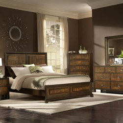queen bedroom set, cheap bedroom set, bedroom set for sale, wood veneer bedroom - Asymmetrical walnut veneers are punctuated by burl veneer centers that serve as the focal point of the bed and case pieces in the contemporary Brumley Collection.