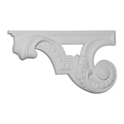 """Ekena Millwork - 12 3/8""""W x 6 5/8""""H x 3/4""""D Scroll Stair Bracket, Left - With the beauty of original and historical styles, decorative stair brackets add the finishing touch to stair systems.  Manufactured from a high density urethane foam, they hold the same type of density and detail as traditional plaster stair bracket products.  They come factory primed and can be easily installed using standard finishing nails and/or polyurethane construction adhesive."""