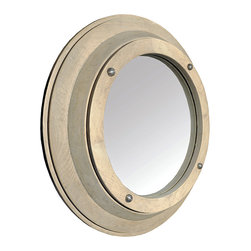 Small Porthole Mirror - Vintage Grey - Though unmistakably nautical when coordinated to a themed room, the Porthole Mirror matches rustic and eclectic wall arrangements well enough to be claimed as a versatile addition to your personal collection of wall d�cor.  A carved elm frame with studs tapped into the wood at regular intervals surrounds the reflective pane of this round wall mirror.  Simple and handsome, the Porthole Mirror is eye-catching in your  home vignettes.