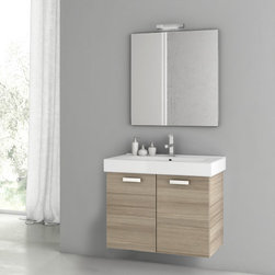 ACF - 30 Inch Larch Canapa Bathroom Vanity Set - Set Includes: Vanity Cabinet (2 Doors), high-end fitted ceramic sink, wall mounted vanity mirror. Vanity Set Features: Vanity cabinet made of engineered wood. Cabinet features waterproof panels. Vanity cabinet in larch canapa finish.