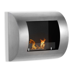 """Ignis Products - Luna Modern Wall Mounted Ventless Ethanol Fireplace with Glass Barrier - You'll fall fast and hard for the sleek contemporary look of the Luna Wall Mounted Ventless Ethanol Fireplace. It features a concave glass front as an option, that serves to intensify the look of the flames within to set a warm, comfortable vibe in any room. This easy-to-install wall mount fireplace hangs on any wall, so it takes up vertical space instead of space on your floor, which makes it perfect for compact areas, including small rooms and apartments. This modern unit has a total output of around 4,000 BTUs with an approximate burn time of around two hours for each refill.  The Luna fireplace comes with a burner insert, damper tool, and hanging hardware. Dimensions: 23.5"""" x 20.5"""" x 7.25"""". Features: Easy Installation - Mounts directly on the wall (mounting brackets included). Protective glass shield. Ventless - no chimney, no gas or electric lines required. Easy or no maintenance required. Capacity: 0.45 Liter. Approximate burn time - 2 hours per refill. Approximate BTU output - 4000. Includes Safety Glass Barrier and Brackets."""