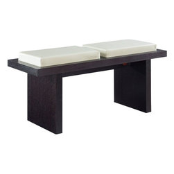 """Global Furniture - Bench, Beige - This modern bench provides seating for 2 and is finish in oak veneers and a leatherette cushion.; Materials: PVC/MDF/Wood/Veneer; Color: Beige/Wenge Legs; Weight: 44 lbs; Dimensions: 22""""L x 18""""W x 38""""H"""