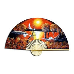 Oriental Unlimited - Asian Sunrise Wall Fan (24 in. H x 40 in. W) - Choose Size: 24 in. H x 40 in. WThe early morning sun is rising on a group of cranes enjoying the waters and trees of a far away land in the heart of Asia. A wall art decor. 24 in. H x 40 in. W. 35 in. H x 60 in. W
