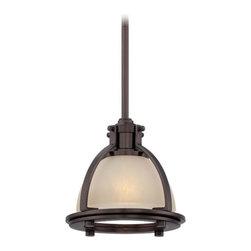 Minka Lighting - Mini-Pendant Light with Beige / Cream Glass - 2240-284 - Traditional harvard court bronze 1-light mini-pendant light. Takes (1) 100-watt incandescent A19 bulb(s). Bulb(s) sold separately. UL listed. Dry location rated.