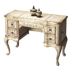 Butler Furniture - Vanity - Hand painted finish on selected hardwoods and wood products. Choice cherry veneer on top, front apron and drawer fronts. Side doors open for jewelry storage. Top sides open to reveal felt lined sections. Top center with mirror opens to reveal felt lined compartment. Four felt lined drawers with antique brass finished hardware.