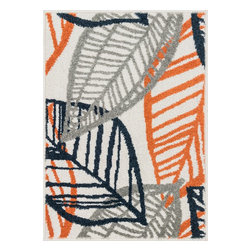 """Loloi Rugs - Loloi Rugs Terrace Collection - Ivory / Orange, 2'-5"""" x 3'-9"""" - Bold design and bright colors come together beautifully in the outdoor-friendly Terrace Collection. Each Terrace rug is power loomed in Egypt of 100% polypropylene that's specially treated to withstand rain and UV damage without staining or fading color.�"""
