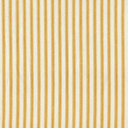 "Close to Custom Linens - 90"" Tablecloth Round Ticking Stripe with Gingham Topper Yellow - A charming traditional ticking stripe in yellow on a cream background. Includes a 90"" round cotton tablecloth."