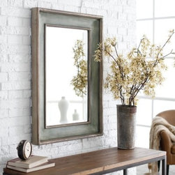 Uttermost Ogden Blue Beveled Mirror - 26W x 36H in. - Add bold classic style to any room with the Ogden Blue Beveled Mirror. This striking mirror has a generously beveled edge and measures 26W x 36H so is a lovely way to brighten the hall or add a designer touch to the entryway. The frame features a hand-rubbed greenish blue finish with ivory undertones and lightly antiqued silver leaf detailing. Simply beautiful over a fireplace mantle.Here's what you need to know to hang your new Uttermost Mirror. Hanging a mirror even if it is a large heavy piece is not a problem if you have the right hanging hardware and a hammer. The best hanging hardware for most walls is the J-hook. It is designed to keep the nail that goes into the wall at a sharp angle so that even in drywall it will stay in place. It is important that the J-hook be properly weighted for the item you want to hang. On all Uttermost products the proper J-hook and nails are included to make sure you have exactly the hardware you need for hanging each piece. On the largest Uttermost mirrors we provide a self-leveling adjustable J-hook. With this hardware even if the item is slightly uneven the hangers can be adjusted without moving the nails from the wall.About UttermostThe mission of the Uttermost Company is simple: to make great home accessories at reasonable prices. This has been their objective since founding their family-owned business over 30 years ago. Uttermost manufactures mirrors art metal wall art lamps accessories clocks and lighting fixtures in its Rocky Mount Virginia factories. They provide quality furnishings throughout the world from their state-of-the-art distribution center located on the West Coast of the United States.