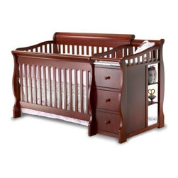 Sorelle Tuscany 4 in 1 Convertible Crib and Changer Combo Collection - You'll love the pieces in this Sorelle Tuscany 4 in 1 Convertible Crib and Changer Combo Collection. With a few simple conversions this 4-in-1 Convertible Crib adapts to accommodate your growing child from infancy through the teenage years. It begins as a handsome crib with elegant sleigh bed elements. A four-position adjustable height mattress spring lets you to lower the mattress as your curious and developing baby grows and begins to stand. All the while an attached changing station is right at the crib side to facilitate easy diaper changes. There are even three drawers and three open shelves for storing essentials. Overall dimensions: 72L x 43W x 35H inches. Changer top dimensions: 29 x 16 inches. When your child is ready convert this crib to a toddler bed with the included safety rails. Next an open low-to-the-floor daybed gives your child easy access in preparation for his or her first full bed. All too soon the two long-side rails of crib can serve as the headboard and footboard of a sleigh-style full-size bed if you purchase the optional side rail twin-conversion kit. And don't forget about that changing table. When changing is no longer necessary this side piece becomes an attractive standalone nightstand. About Sorelle FurnitureSorelle Furniture is a family-owned and -operated business that has been bringing the world to your nursery with quality products for over 25 years. Sorelle is a division of C & T International founded in 1977. They offer a complete line of furniture for infants toddlers children and young adults. Imported from all over the world Sorelle furniture showcases both classic and modern designs crafted from solid wood and veneers. Rich finishes highlight the natural beauty of their wood products and provide a matching appearance for all your baby's furnishings. Built with your child's safety in mind.