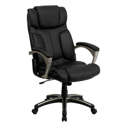 Flash Furniture - Flash Furniture High Back Folding Black Leather Executive Office Chair - This unique office chair folds if you have the need to slide under your desk or give your office an open feeling when not in use. The two thumb sliders placed on the sides of the chair make it an easy transition to the folding position. Chair also features a locking tilt control, pneumatic seat lift and a sturdy nylon base that is trimmed in silver.