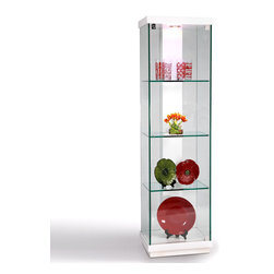 Chintaly Imports - White Accent Glass Curio - This brilliantly modern square shape glass curio by Chintaly Import has a spacious design which features three interior glass shelves which are enclosed by a glass door with additional storage space at the base. The frame consists mainly of glass with panels on top and bottom painted in a rich white finish. Its tall design allows for increased space while its durable construction will ensure it lasts for many years. Chic, contemporary, and minimalist best describes its style, which can fit well into any dcor.